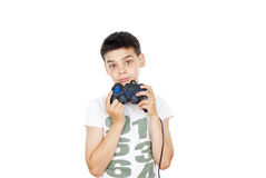 Boy playing computer games Royalty Free Stock Photography
