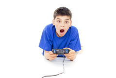 Boy playing computer games Stock Photos