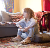 Boy Playing Console Game Royalty Free Stock Photos