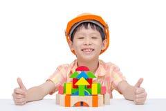 Boy playing construction blocks Royalty Free Stock Photo