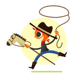 Boy Playing Cowboy. Illustration of a boy playing cowboy. Retro style illustration, with a stick horse, lasso, boots, and hat. Yeeha Stock Illustration