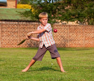 Boy playing cricket in a park. In checked shirt Royalty Free Stock Image
