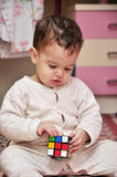 Boy Playing with Cube Toy Stock Photography