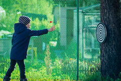 Boy playing darts outdoors royalty free stock image