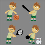Boy playing different sports Royalty Free Stock Photo