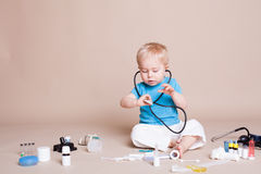 Boy playing in the doctor in the hospital Royalty Free Stock Image