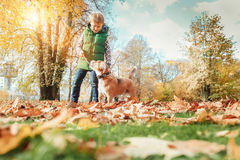Boy playing with dog in autumn park Stock Photo