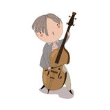Boy playing the double bass. Royalty Free Stock Photo