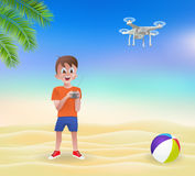 Boy playing with a drone on the beach. Vector illustration Royalty Free Stock Image