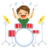 Boy Playing Drums. Cute young little boy happy playing drums royalty free illustration