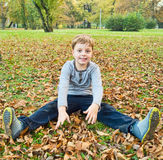 Boy playing with fallen leaves Royalty Free Stock Photos