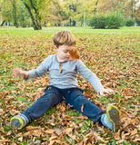 Boy playing with fallen leaves Stock Photos