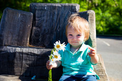 Boy Playing with Flowers Stock Image