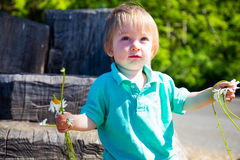 Boy Playing with Flowers Stock Images