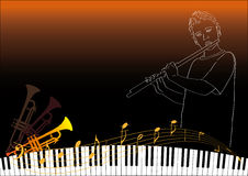 A boy playing the flute vector illustration