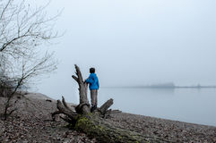 Boy playing in the fog Stock Photos