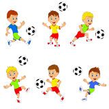 Boy playing football collection Stock Photos