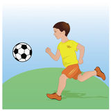Boy playing football. Flat design. Vector illustration Royalty Free Stock Photo