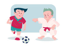 Boy  playing football and karate vector illustration Royalty Free Stock Images