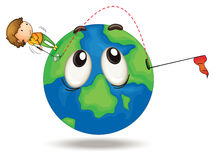 A boy playing golf. Illustration of a boy playing golf on a earth globe Royalty Free Stock Images