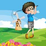 A boy playing golf. Illustration of a boy playing golf Stock Photo