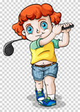 Boy playing golf on transparent background. Illustration Royalty Free Stock Photography