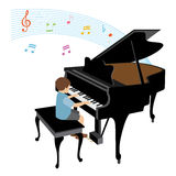 Boy playing grand piano. Vector illustration of a boy playing grand piano Stock Illustration