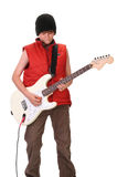 Boy playing guitar Stock Images