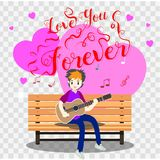Boy playing guitar on a chair for Valentine`s day. on happy valentine`s day and Love background design for valentine`s festival .V. Ector illustration.Cartoon Stock Images