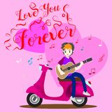 Boy playing guitar on a classic motorcycle for Valentine`s day. on happy valentine`s day and Love background design for valentine`. S festival .Vector Royalty Free Stock Photos