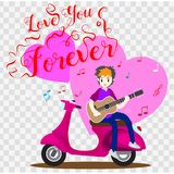 Boy playing guitar on a classic motorcycle for Valentine`s day. on happy valentine`s day and Love background design for valentine`. S festival .Vector Stock Photography