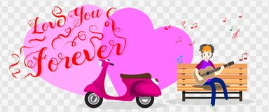 Boy playing guitar on a classic motorcycle for Valentine`s day. on happy valentine`s day and Love background design for valentine`. S festival .Vector Stock Image