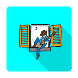 Boy playing guitar at window shadow Royalty Free Stock Photo