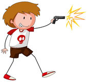 Boy playing with gun. Illustration Stock Photo