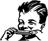 Boy Playing Harmonica Royalty Free Stock Photos