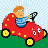 Boy Playing in his Cartoon Car. Cartoon boy enjoying himself driving his red pedal car vector illustration