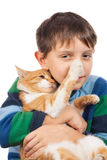 Boy playing with his cat Royalty Free Stock Photography