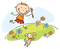 Boy playing with his dog outdoors. Happy boy playing with his dog outdoors stock illustration