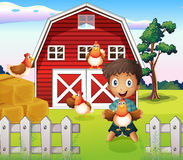 A boy playing with his farm animals Royalty Free Stock Photos