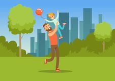 Boy playing with his father in city park outside, dad and son having fun together, family leisure vector illustration. Web banner Stock Photos