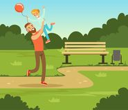 Boy playing with his father in summer park outside, dad and son having fun together, family leisure vector illustration. Web banner Royalty Free Stock Photos