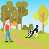Boy playing with his pet dog in the park vector illustration