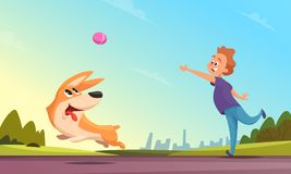 Boy playing with his pet in urban park. Dog catching little ball vector illustration