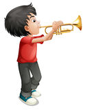 A boy playing with his trombone Stock Photos