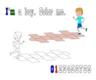 Boy playing hopscotch vector illustration