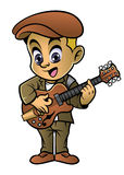 Boy playing a jazz guitar Stock Images