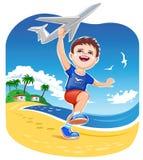 Boy Playing Jet Toy Royalty Free Stock Photo