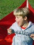Boy Playing with Kite stock images