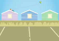 a boy playing kite on roof royalty free illustration