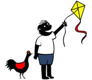 Boy Playing Kite. Simple cartoon of boy playing kite Stock Image
